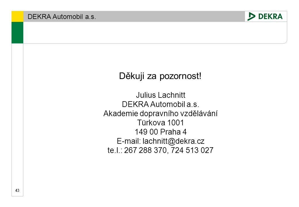 DEKRA Automobil a.s. Děkuji za pozornost! Julius Lachnitt DEKRA Automobil a.s. Akademie dopravního vzdělávání Türkova 1001 149 00 Praha 4 E-mail: lach
