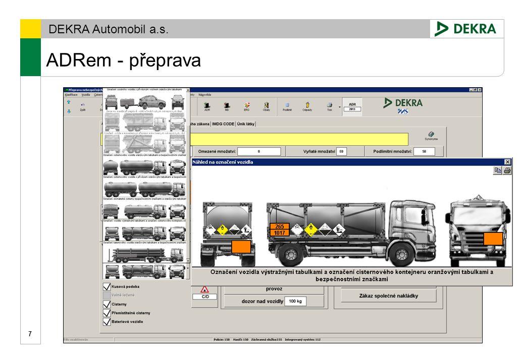 DEKRA Automobil a.s. ADRem – podlimitní,omezené,vyňaté množství 8