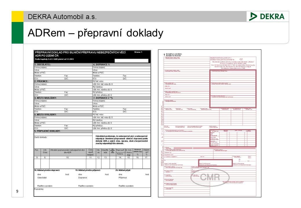 DEKRA Automobil a.s. ADRem – kontrolní seznam - Checklist 10