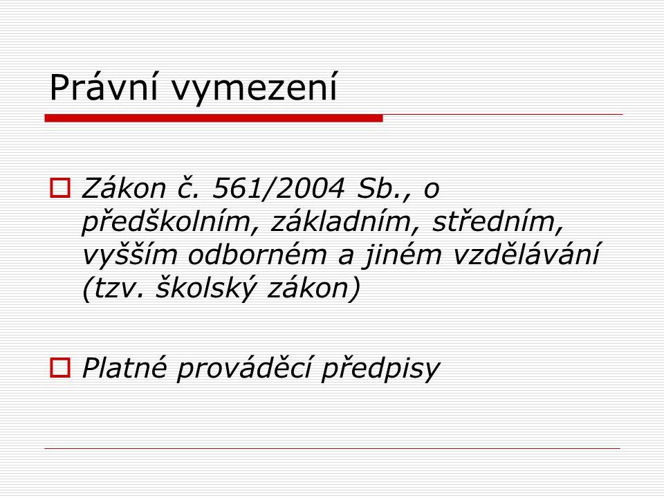 Právní vymezení  Zákon č. 561/2004 Sb., o předškolním, základním, středním, vyšším odborném a jiném vzdělávání (tzv. školský zákon)  Platné prováděc