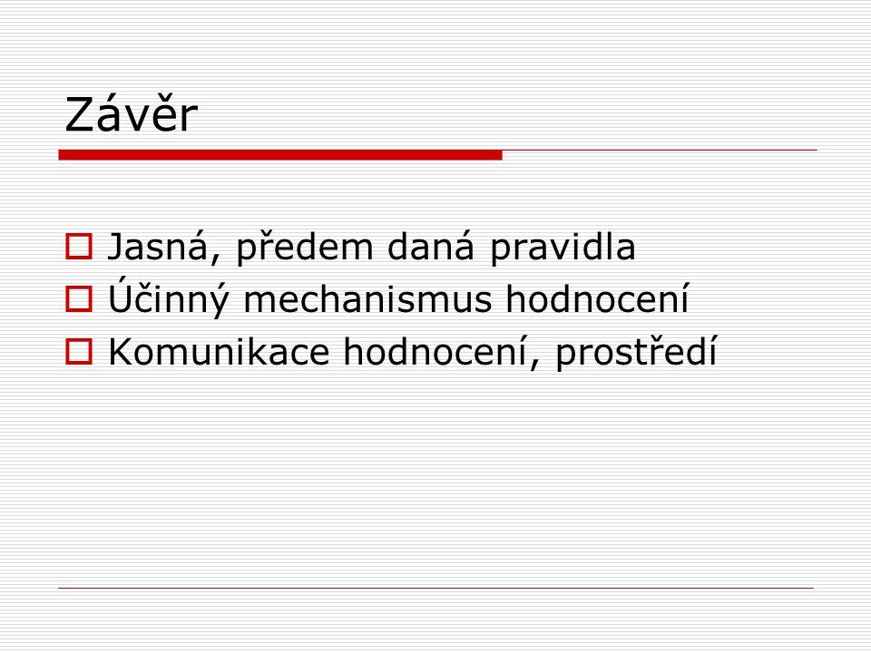 Závěr  Jasná, předem daná pravidla  Účinný mechanismus hodnocení  Komunikace hodnocení, prostředí