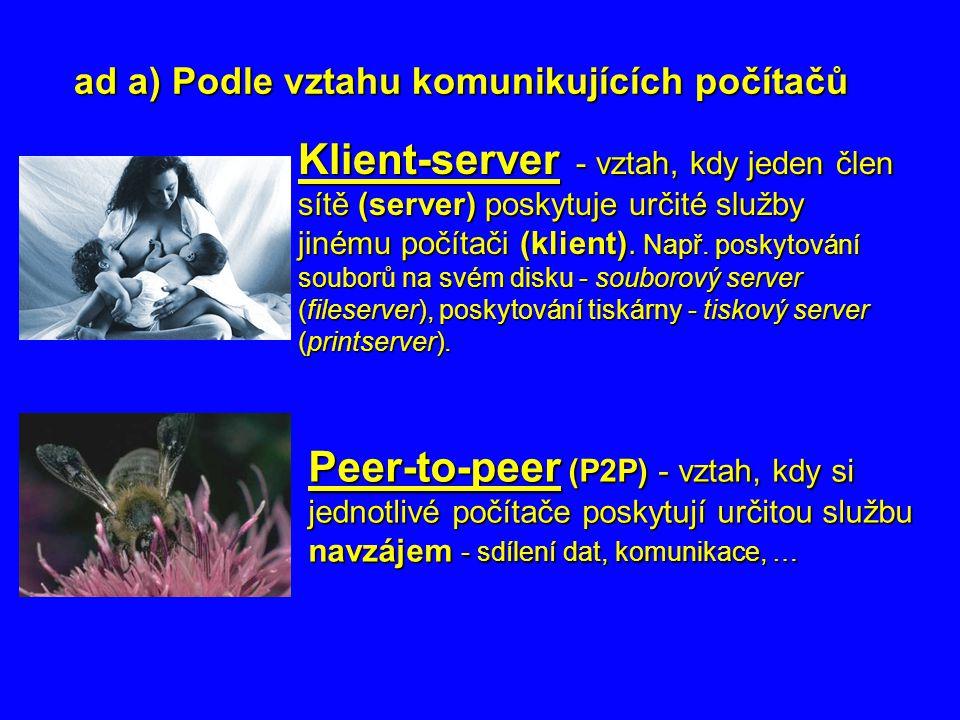 ad a) Podle vztahu komunikujících počítačů Klient-server - vztah, kdy jeden člen sítě (server) poskytuje určité služby jinému počítači (klient). Např.