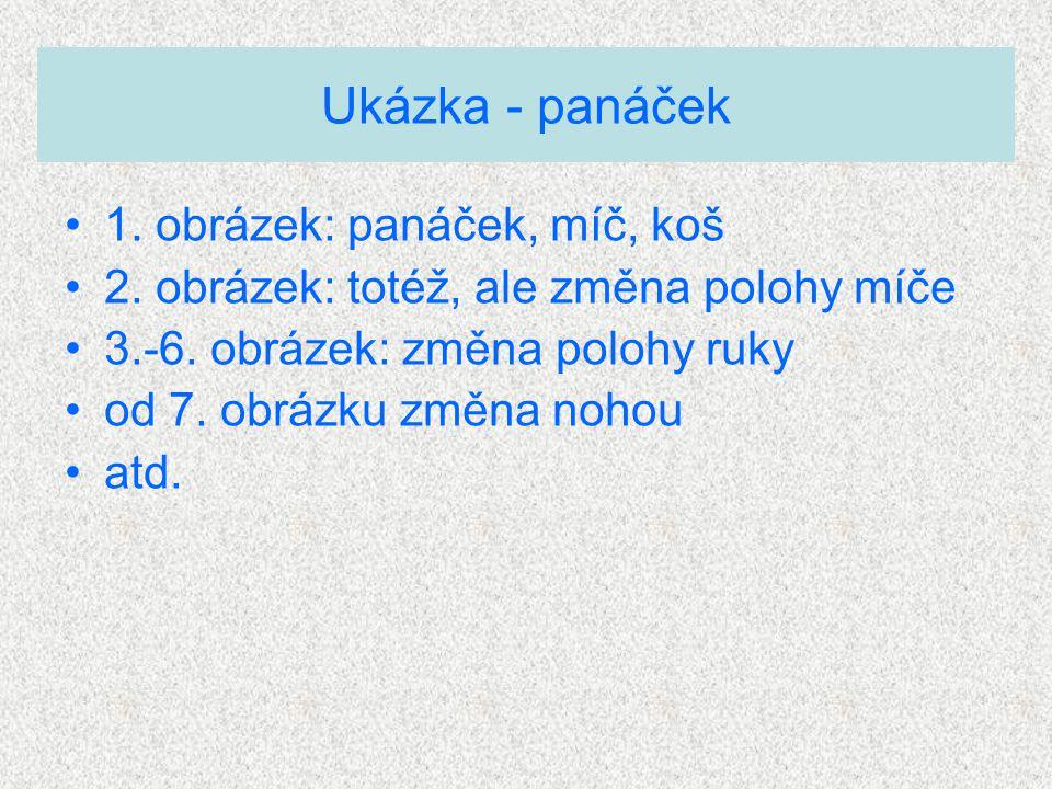 Ukázka - panáček 1. obrázek: panáček, míč, koš 2.