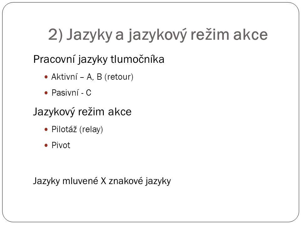 2) Jazyky a jazykový režim akce Pracovní jazyky tlumočníka Aktivní – A, B (retour) Pasivní - C Jazykový režim akce Pilotáž (relay) Pivot Jazyky mluven