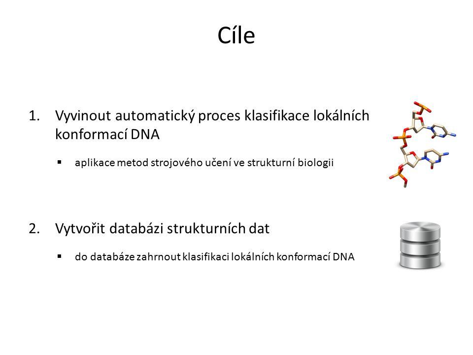 1.Vyvinout automatický proces klasifikace lokálních konformací DNA  aplikace metod strojového učení ve strukturní biologii 2.Vytvořit databázi strukt