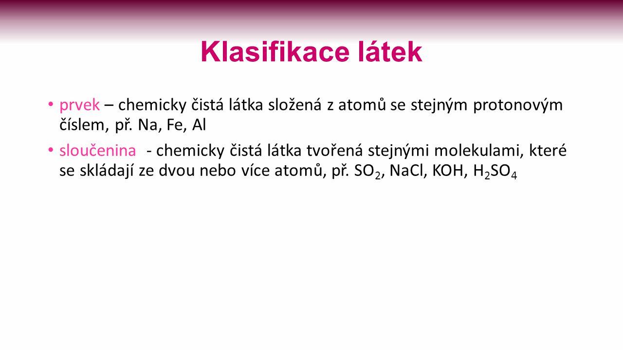 Klasifikace látek látka chemicky čistá látka směs prvky sloučeniny