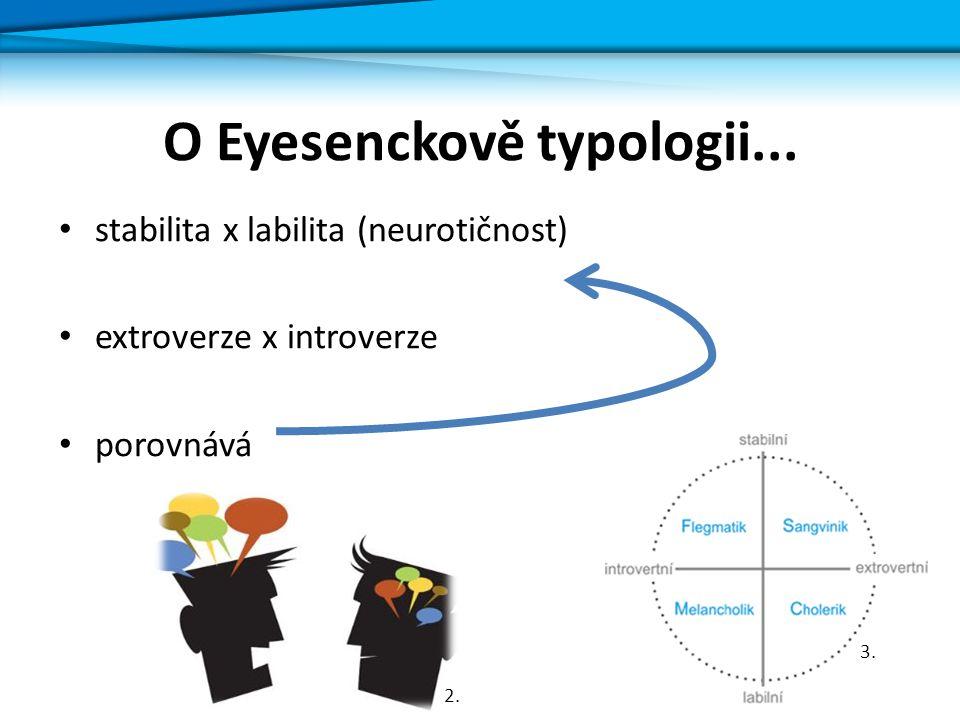 O Eyesenckově typologii... stabilita x labilita (neurotičnost) extroverze x introverze porovnává 2. 3.