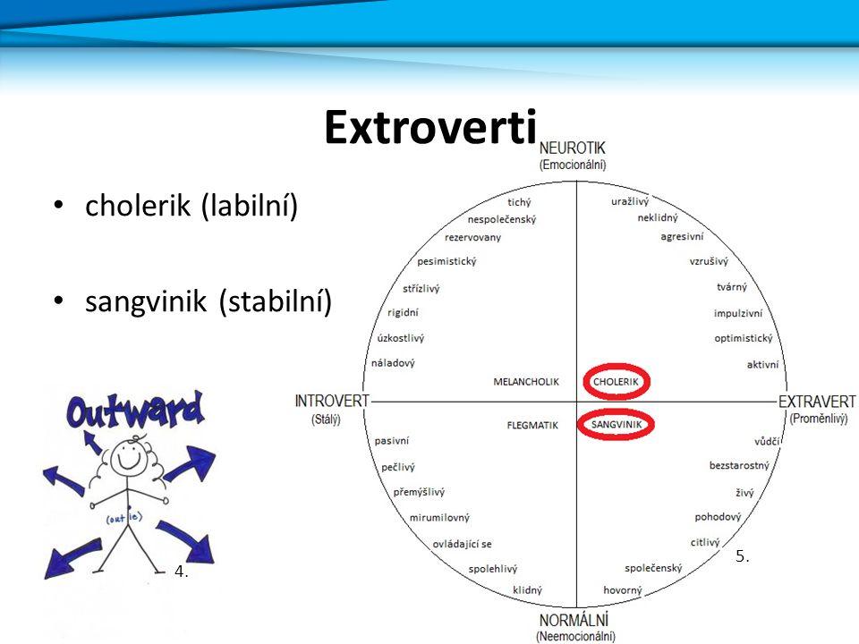 Introverti flegmatik (stabilní) melancholik (labilní) 6.