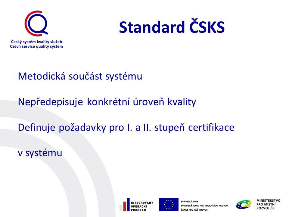 Standard ČSKS Metodická součást systému Nepředepisuje konkrétní úroveň kvality Definuje požadavky pro I.