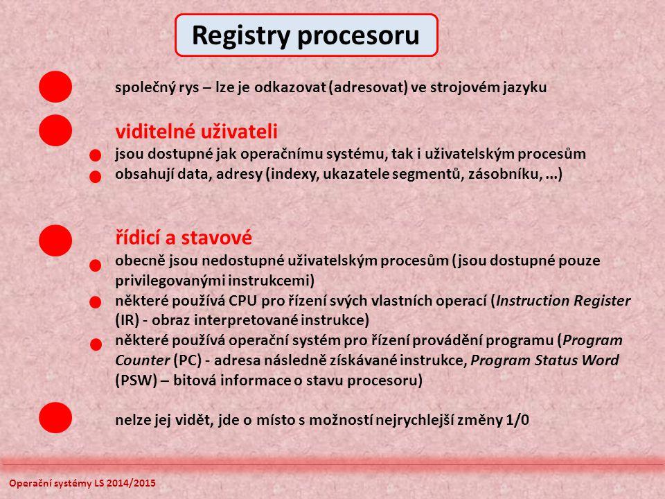 Operační systémy LS 2014/2015 společný rys – lze je odkazovat (adresovat) ve strojovém jazyku viditelné uživateli jsou dostupné jak operačnímu systému