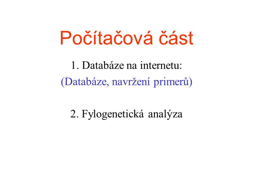 Počítačová část 1. Databáze na internetu: (Databáze, navržení primerů) 2. Fylogenetická analýza