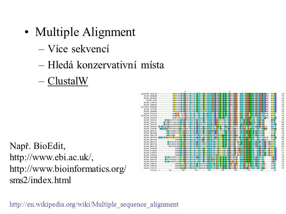 Multiple Alignment –Více sekvencí –Hledá konzervativní místa –ClustalW Např. BioEdit, http://www.ebi.ac.uk/, http://www.bioinformatics.org/ sms2/index