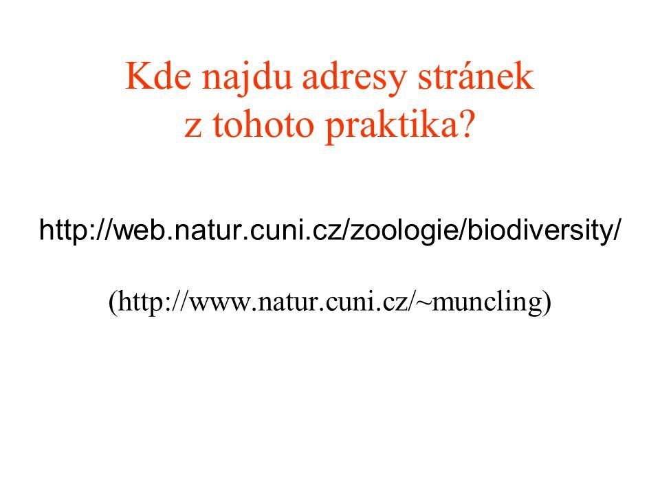 Kde najdu adresy stránek z tohoto praktika? http://web.natur.cuni.cz/zoologie/biodiversity/ (http://www.natur.cuni.cz/~muncling)