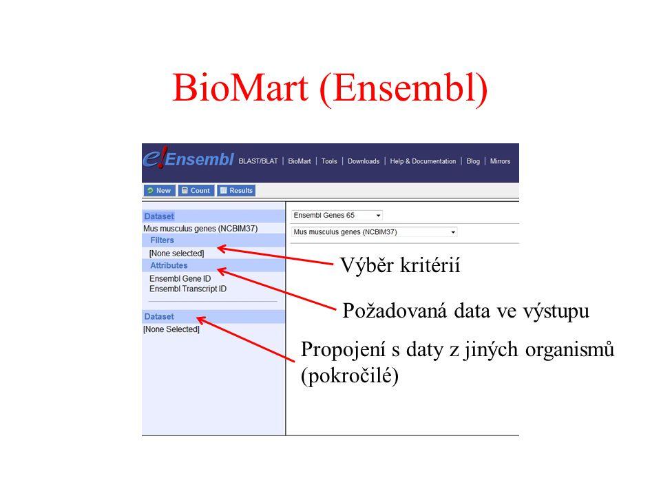 Výběr kritérií Požadovaná data ve výstupu Propojení s daty z jiných organismů (pokročilé)