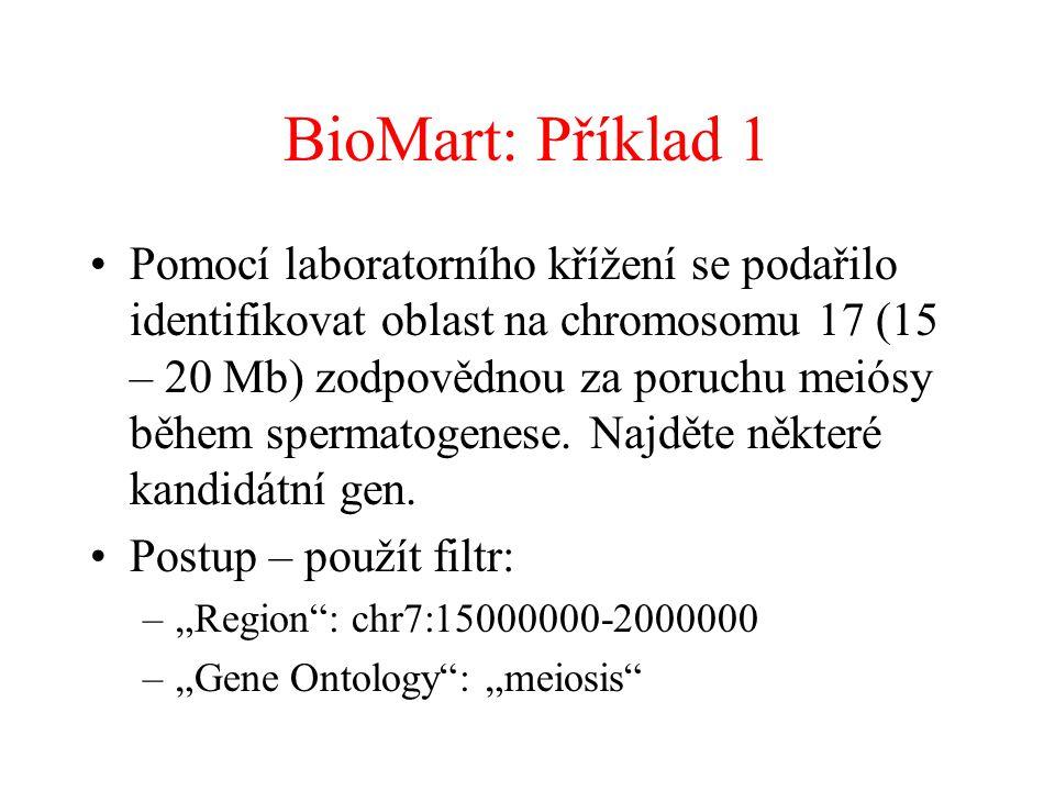 BioMart: Příklad 1 Pomocí laboratorního křížení se podařilo identifikovat oblast na chromosomu 17 (15 – 20 Mb) zodpovědnou za poruchu meiósy během spermatogenese.
