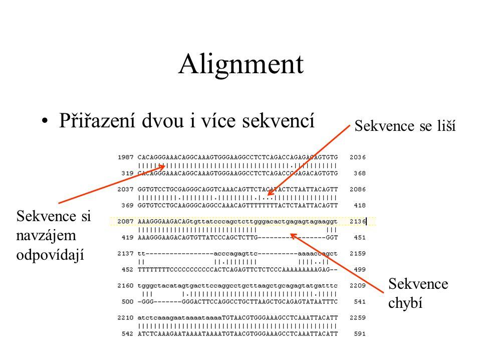Pairwise Alignment (2 sekvence) –Globální: Zhruba stejně dlouhé sekvence Snaží se přiřadit od začátku až do konce sekvence –Lokální: Jen nejlépe shodující se místa obou sekvencí Sekvence různě dlouhé Např.