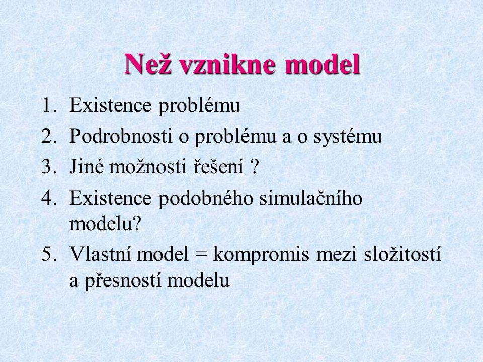 Než vznikne model 1.Existence problému 2.Podrobnosti o problému a o systému 3.Jiné možnosti řešení ? 4.Existence podobného simulačního modelu? 5.Vlast