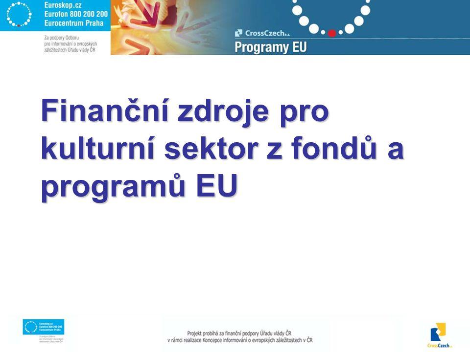 2 Přehled programů Culture 2000 eLearning eContent Plus 6 rámcový program –IST –Science and Society Finanční mechanismus EHP a Norska Strukturální fondy