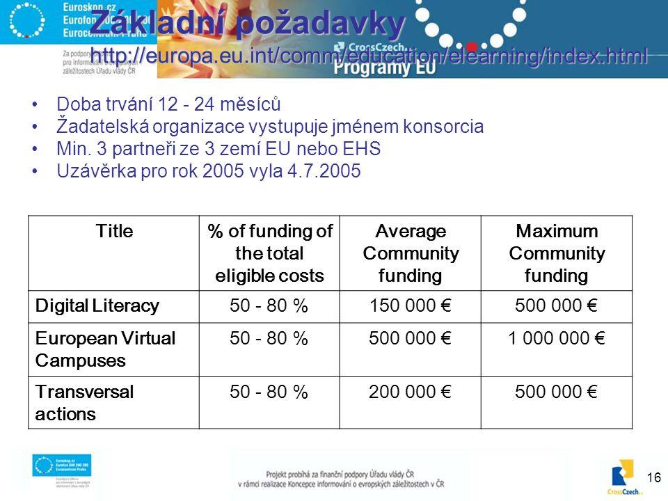 16 Základní požadavky http://europa.eu.int/comm/education/elearning/index.html Doba trvání 12 - 24 měsíců Žadatelská organizace vystupuje jménem konso