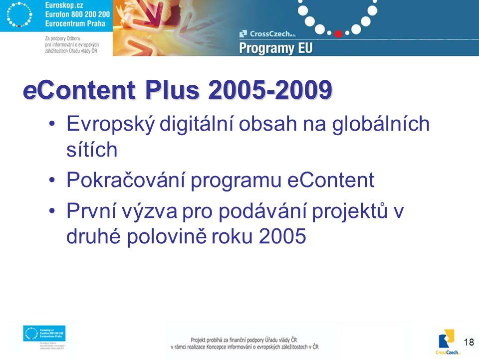 18 eContent Plus 2005-2009 Evropský digitální obsah na globálních sítích Pokračování programu eContent První výzva pro podávání projektů v druhé polov