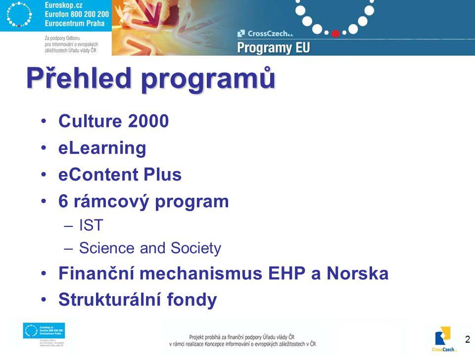 2 Přehled programů Culture 2000 eLearning eContent Plus 6 rámcový program –IST –Science and Society Finanční mechanismus EHP a Norska Strukturální fon