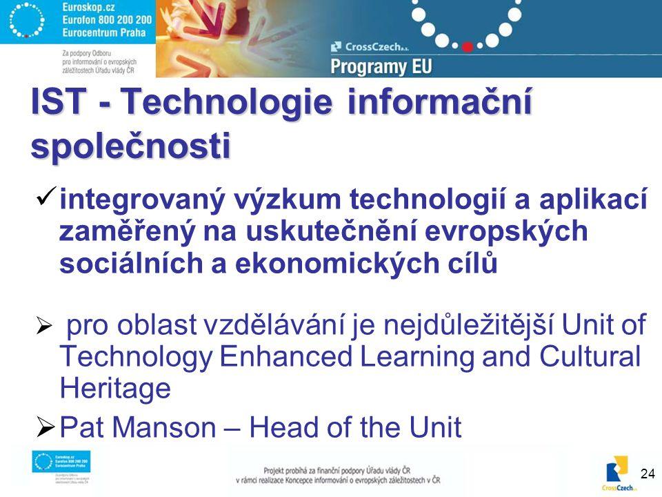 24 IST - Technologie informační společnosti integrovaný výzkum technologií a aplikací zaměřený na uskutečnění evropských sociálních a ekonomických cíl
