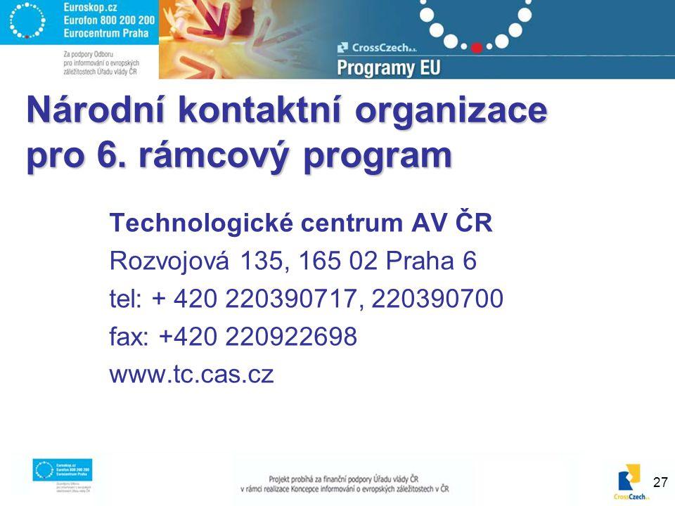 27 Národní kontaktní organizace pro 6. rámcový program Technologické centrum AV ČR Rozvojová 135, 165 02 Praha 6 tel: + 420 220390717, 220390700 fax: