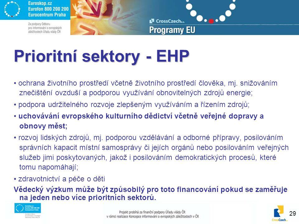 29 Prioritní sektory - EHP ochrana životního prostředí včetně životního prostředí člověka, mj. snižováním znečištění ovzduší a podporou využívání obno