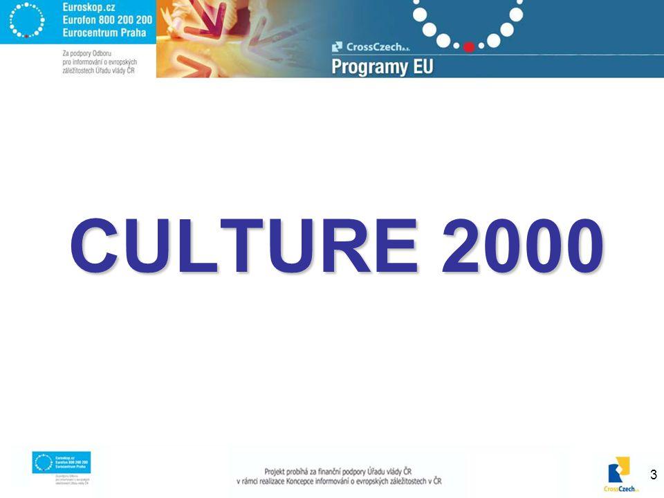 4 Culture 2000 – www.culture2000.cz podpora kulturního dialogu a vzájemné znalosti kultury a historie evropských národů podpora tvůrčí činnosti a nadnárodního šíření kultury s důrazem na mladé lidi, sociálně znevýhodněné osoby a na kulturní rozmanitost zdůraznění kulturní rozmanitosti a rozvoje nových forem uměleckého výrazu sdílení a zdůraznění společného kulturního dědictví evropského významu na evropské úrovni, šíření know-how a podpory osvědčených postupů při jeho konzervaci a ochraně přihlédnutí k roli kultury v socioekonomickém vývoji posílení mezikulturního dialogu jednoznačné uznání kultury jako ekonomického faktoru a jako faktoru sociální a občanské integrace zlepšení přístupu ke kultuře a účasti na kulturním dění v Evropské unii pro co největší počet občanů