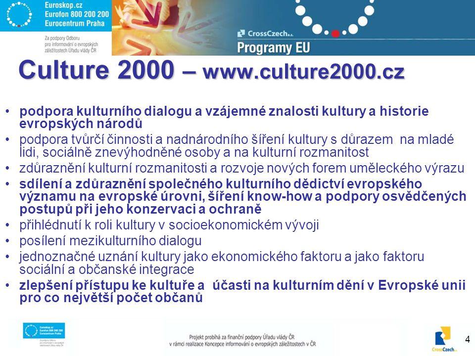 4 Culture 2000 – www.culture2000.cz podpora kulturního dialogu a vzájemné znalosti kultury a historie evropských národů podpora tvůrčí činnosti a nadn