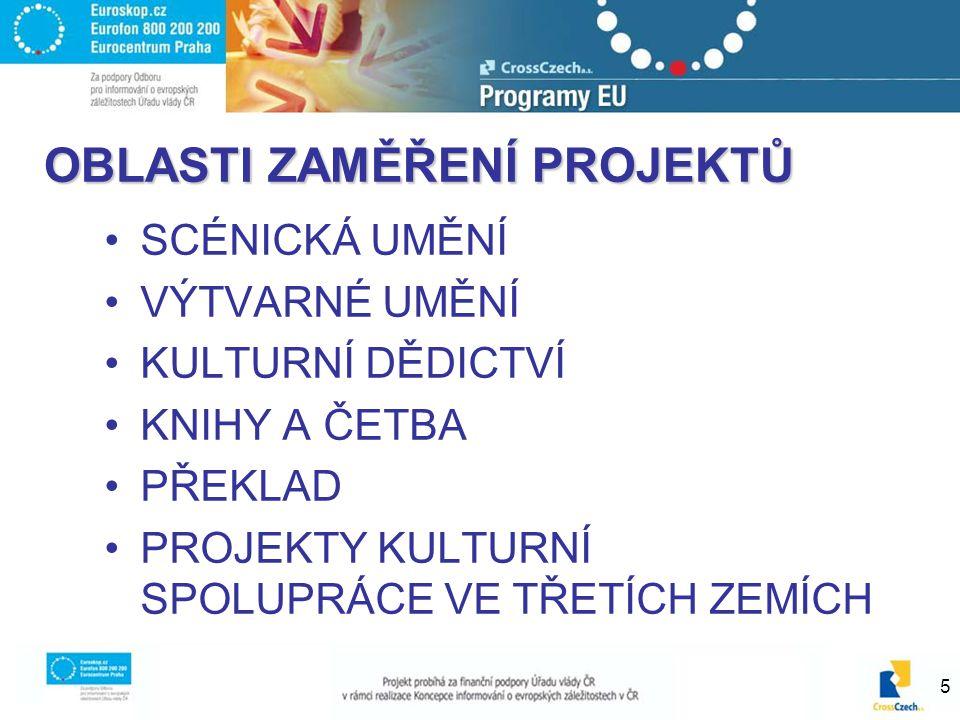 6 Projektoví partneři Způsobilými kandidáty jsou veřejné nebo soukromé organizace s právním statusem, jejichž hlavní činnost spočívá v kulturní oblasti.