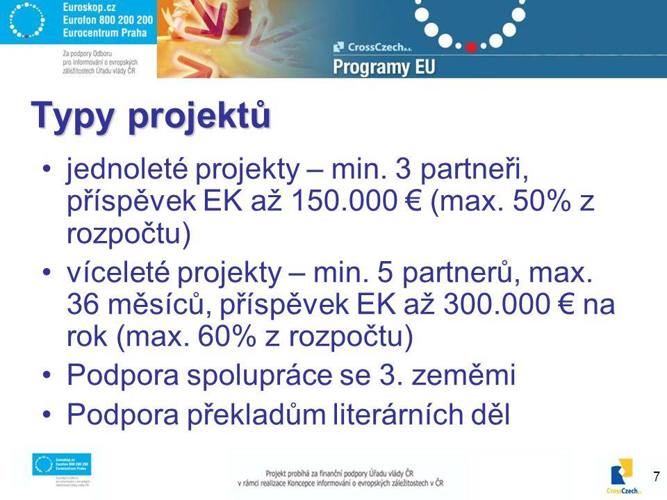 7 Typy projektů jednoleté projekty – min. 3 partneři, příspěvek EK až 150.000 € (max. 50% z rozpočtu) víceleté projekty – min. 5 partnerů, max. 36 měs