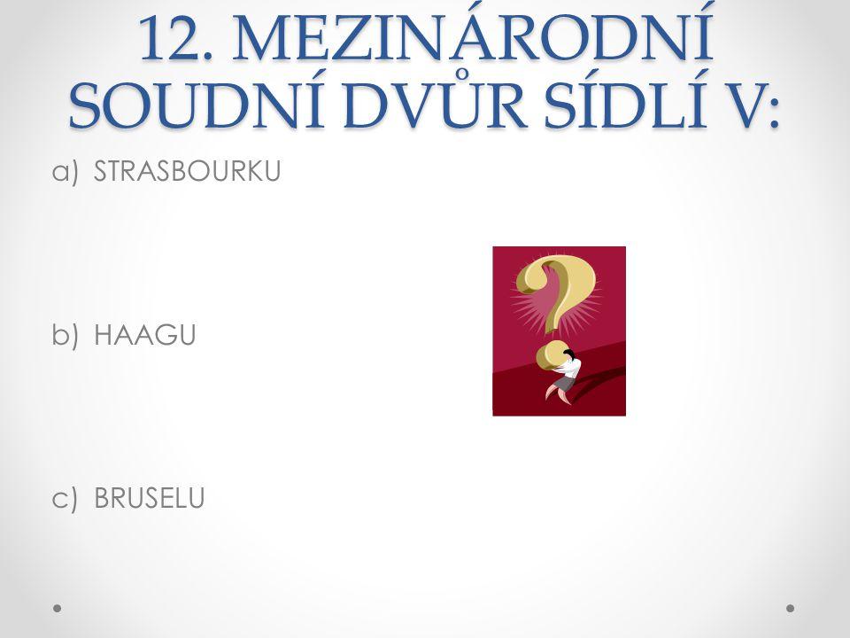 12. MEZINÁRODNÍ SOUDNÍ DVŮR SÍDLÍ V: a)STRASBOURKU b)HAAGU c)BRUSELU