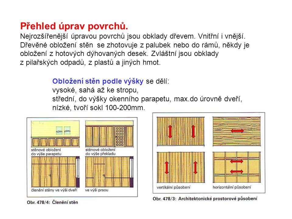 Přehled úprav povrchů. Nejrozšířenější úpravou povrchů jsou obklady dřevem. Vnitřní i vnější. Dřevěné obložení stěn se zhotovuje z palubek nebo do rám