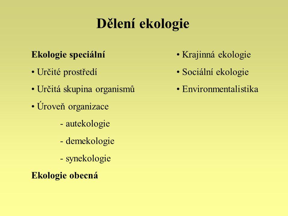Metody ekologie Metody - převzaté - vlastní Statistické metody Modelování ekologických procesů Teoretická ekologie Aplikovaná a experimentální ekologie Modely - stochastické - deterministické