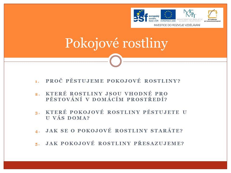 1.PROČ PĚSTUJEME POKOJOVÉ ROSTLINY. 2.