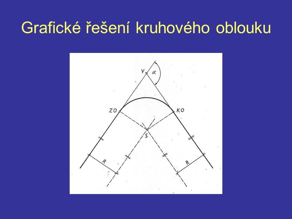 Praktický postup Na tečnovém polygonu změříme velikost doplňkových úhlů Navrhneme vhodné poloměry a spočteme tečny Vykreslíme oblouk Vykreslíme tabulky parametrů oblouků Vykreslíme kótování Vytvoříme zápisník staničení