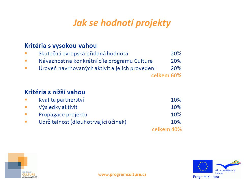 Jak se hodnotí projekty Kritéria s vysokou vahou  Skutečná evropská přidaná hodnota 20%  Návaznost na konkrétní cíle programu Culture20%  Úroveň navrhovaných aktivit a jejich provedení20% celkem 60% Kritéria s nižší vahou  Kvalita partnerství 10%  Výsledky aktivit 10%  Propagace projektu10%  Udržitelnost (dlouhotrvající účinek)10% celkem 40% www.programculture.cz