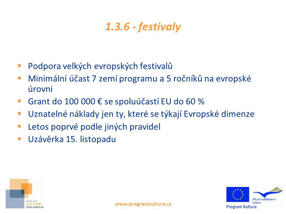 1.3.6 - festivaly  Podpora velkých evropských festivalů  Minimální účast 7 zemí programu a 5 ročníků na evropské úrovni  Grant do 100 000 € se spoluúčastí EU do 60 %  Uznatelné náklady jen ty, které se týkají Evropské dimenze  Letos poprvé podle jiných pravidel  Uzávěrka 15.