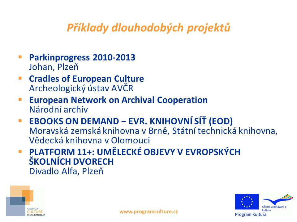 Úspěšné žádosti, linie 1.2.1 www.programculture.cz