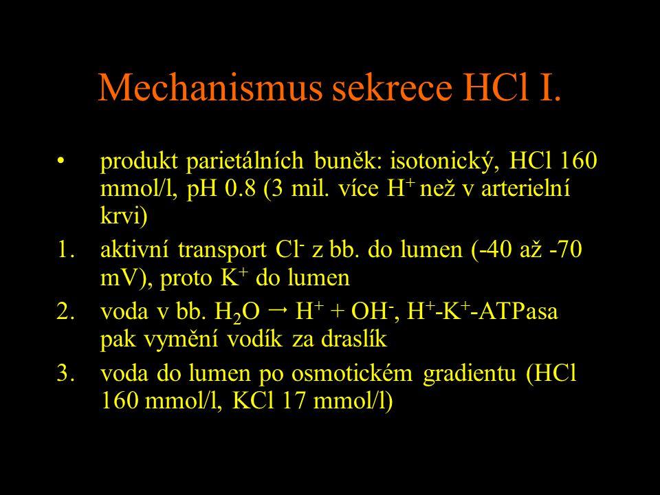Mechanismus sekrece HCl I. produkt parietálních buněk: isotonický, HCl 160 mmol/l, pH 0.8 (3 mil. více H + než v arterielní krvi) 1.aktivní transport