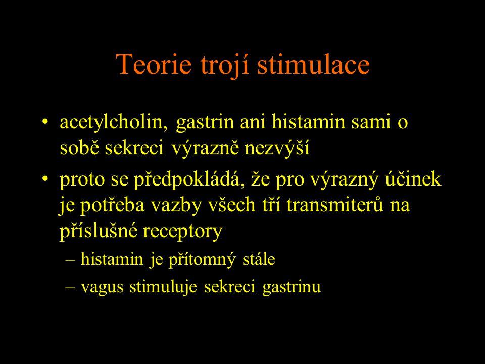 Teorie trojí stimulace acetylcholin, gastrin ani histamin sami o sobě sekreci výrazně nezvýší proto se předpokládá, že pro výrazný účinek je potřeba v