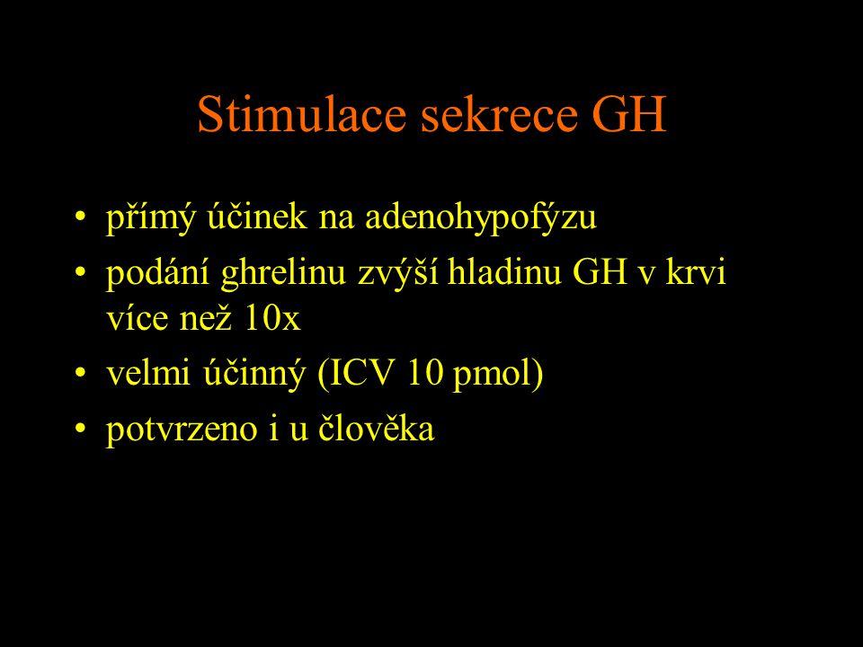 Stimulace sekrece GH přímý účinek na adenohypofýzu podání ghrelinu zvýší hladinu GH v krvi více než 10x velmi účinný (ICV 10 pmol) potvrzeno i u člově
