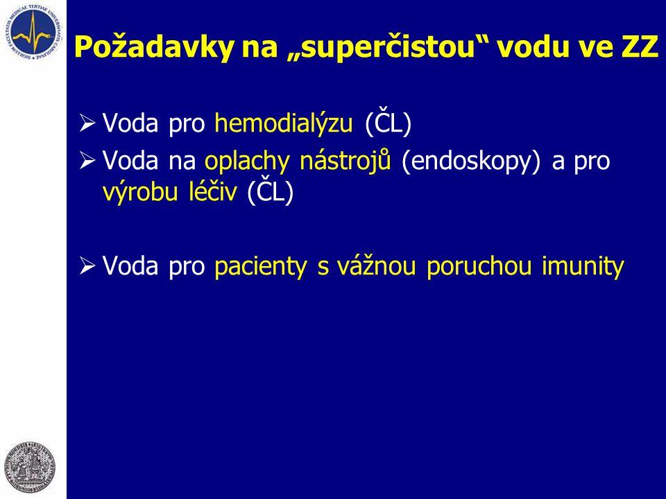 """Požadavky na """"superčistou"""" vodu ve ZZ  Voda pro hemodialýzu (ČL)  Voda na oplachy nástrojů (endoskopy) a pro výrobu léčiv (ČL)  Voda pro pacienty s"""