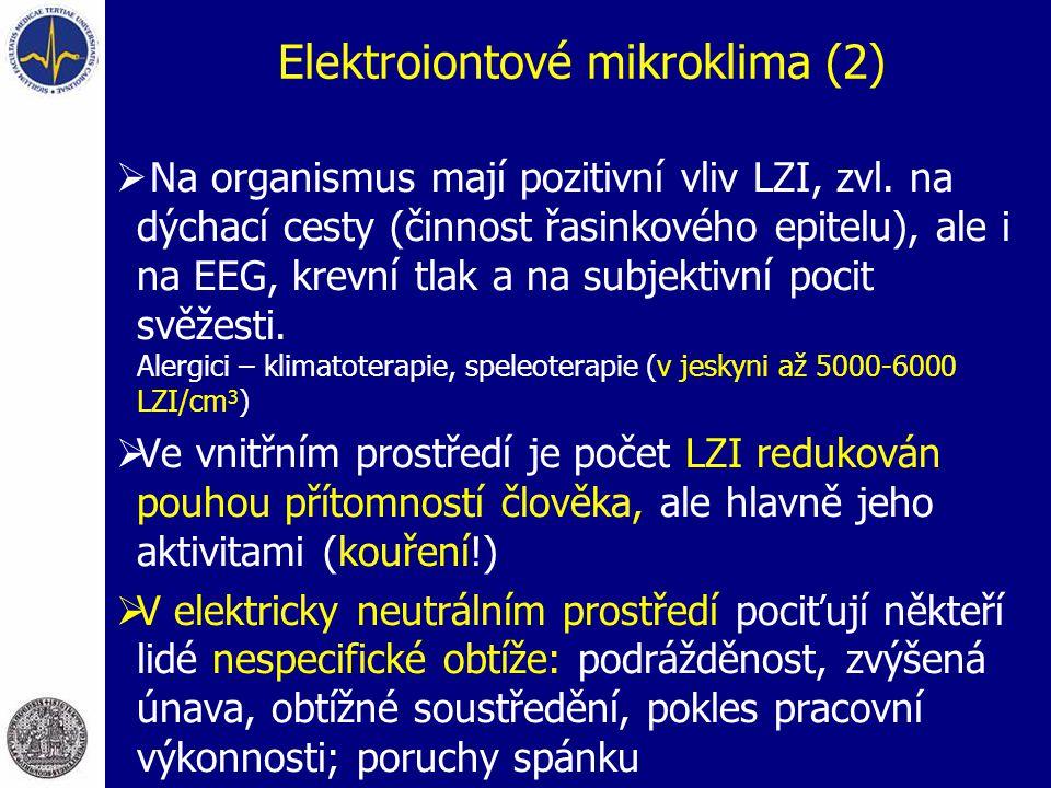 Elektroiontové mikroklima (2)  Na organismus mají pozitivní vliv LZI, zvl. na dýchací cesty (činnost řasinkového epitelu), ale i na EEG, krevní tlak