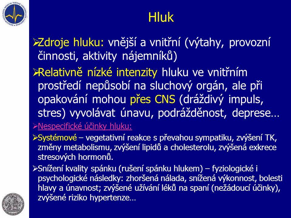 Hluk  Zdroje hluku: vnější a vnitřní (výtahy, provozní činnosti, aktivity nájemníků)  Relativně nízké intenzity hluku ve vnitřním prostředí nepůsobí