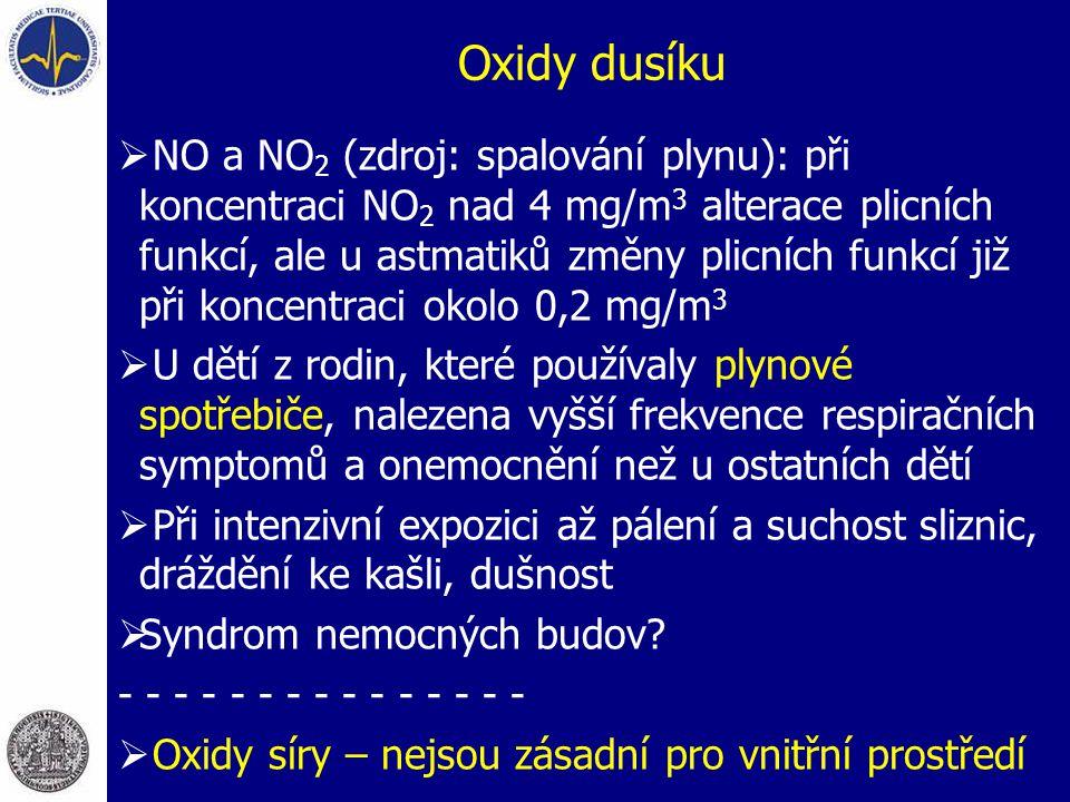 Oxidy dusíku  NO a NO 2 (zdroj: spalování plynu): při koncentraci NO 2 nad 4 mg/m 3 alterace plicních funkcí, ale u astmatiků změny plicních funkcí j