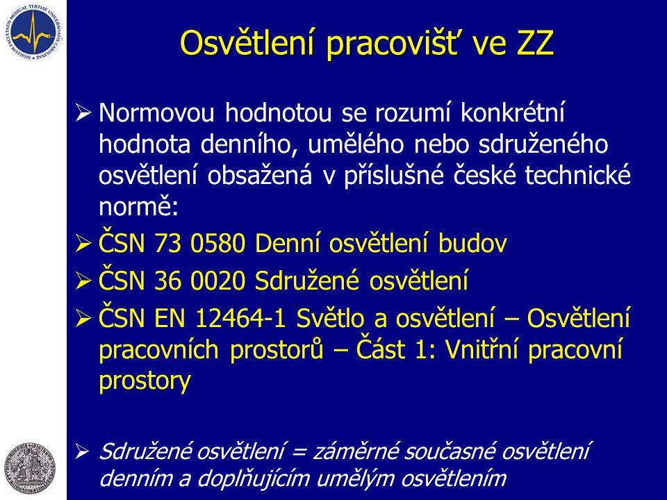 Osvětlení pracovišť ve ZZ  Normovou hodnotou se rozumí konkrétní hodnota denního, umělého nebo sdruženého osvětlení obsažená v příslušné české techni