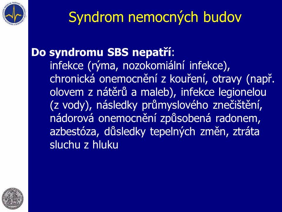 Syndrom nemocných budov Do syndromu SBS nepatří: infekce (rýma, nozokomiální infekce), chronická onemocnění z kouření, otravy (např. olovem z nátěrů a