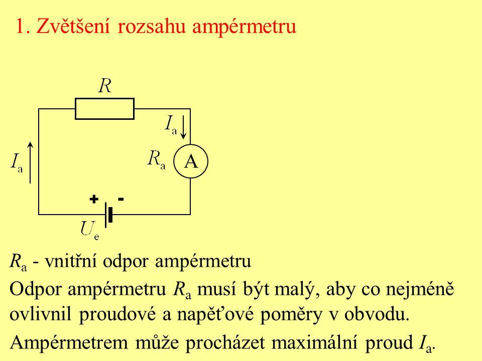 1. Zvětšení rozsahu ampérmetru R a - vnitřní odpor ampérmetru Odpor ampérmetru R a musí být malý, aby co nejméně ovlivnil proudové a napěťové poměry v